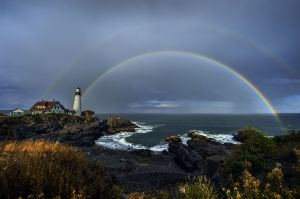 3: Double Rainbow at Portland Head Light