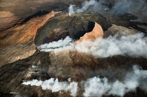 Helicopter flight over volcano, Hawaii
